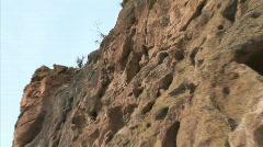 Frijoles Canyon Walls-zoom-pan Stock Footage