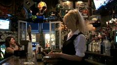 Girl Bartender Lights Cognac Stock Footage