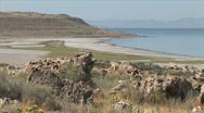 Great Salt Lake Beach-ws-zoom Stock Footage