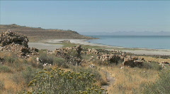Great Salt Lake Beach-xws Stock Footage