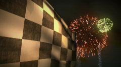 (1230) Summer Fireworks Celebration Motor Racing Flag Winner Competition Stock Footage