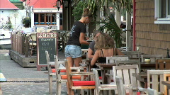 Gustavia Cafe Waitress Stock Footage