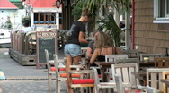 Stock Video Footage of Gustavia Cafe Waitress