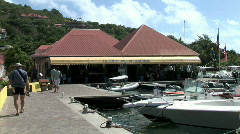 Gustavia Harbor Boardwalk Cafe Stock Footage