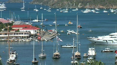 Gustavia Harbor Boats-xws-zooms Stock Footage