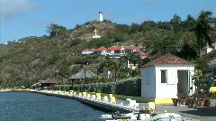 Gustavia Harbor Docking Posts-ws Stock Footage