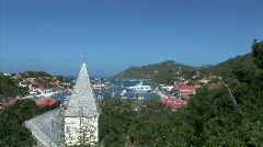 Gustavia Harbor from Church-zoom Stock Footage