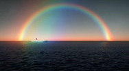 Stock Video Footage of (1231) Rainbow Sky Blue Tropical Ocean Waves Sunset Cruise Ship Travel Vacati