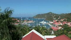 Gustavia Harbor-overhead-zoom - stock footage