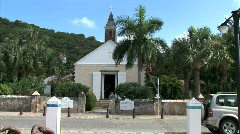 Gustavia Old Church Traffic Stock Footage