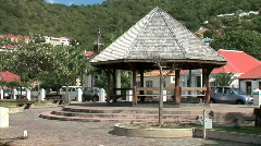 Gustavia Plaza Gazebo-zoom Stock Footage
