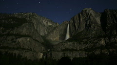 Stock Video Footage of Moonbow A02 Yosemite Falls Night Time Lapse x200 Tilt Up