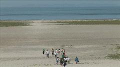 Kids on Great Salt Lake Beach-xws-zoom Stock Footage