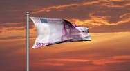 Euro banknote money flag against sunset cloudy sky - Finance - Wealth  Stock Footage