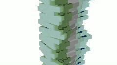 Money tower euro white background Stock Footage