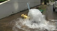 Stock Video Footage of Car Breaks Street Water Fire Hydrant and Stop Sign + audio