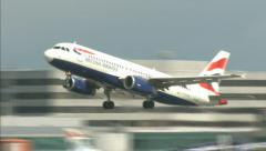 British Airways A320 - Passenger plane airport takeoff 1920x1080 - stock footage