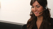 Pretty smiling customer service woman Stock Footage