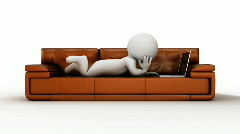 Cartoon 3d human rest on a brown sofa with laptop Stock Footage