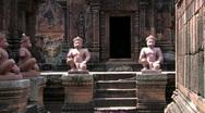 PAN Ruins Ancient Temple Old Hindu Buddhist Stone Building, Angkor Wat Stock Footage