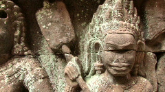 Bas Reliefs Sculpture RUINED TEMPLE Angkor Wat Cambodia Gods Asia Art Hindu  Stock Footage