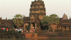 Angkor Wat Cambodia Ancient Ruins Khmer Civilization Causeway Entrance UNESCO  - stock footage