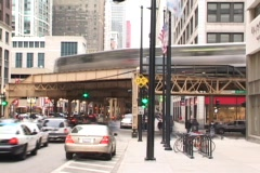 Chicago Street Timelapse with EL 2 Stock Footage