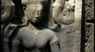 Stock Video Footage of Bas Reliefs Sculpture Angkor Wat, Cambodia