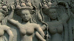 Bas Reliefs Sculpture Angkor Wat, Cambodia  Stock Footage