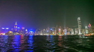 Stock Video Footage of Night View of the illuminated Hong Kong Harbor