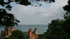 View of the english channel from chine hotel Stock Footage