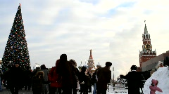 Red square and Kremlin on New Year's Day - HD 1920 X 1080 - stock footage