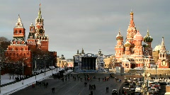 Vasily Cathedral and Kremlin on New Year's Day - HD 1920 X 1080 Stock Footage