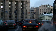 Cars driving through downtown of city - HD 1920 X 1080 - stock footage