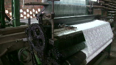 Silk Textile Cloth factory production line Machine loom Weaving Mill Stock Footage