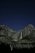 Stock Video Footage of Moonbow C01 Yosemite Falls Night Time Lapse x150 Vertical Loop