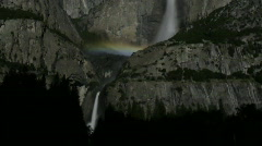 Stock Video Footage of Moonbow C02 Yosemite Falls Night Time Lapse x150 Pan Tilt Up