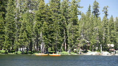 Kayakers, mountain lake Stock Footage