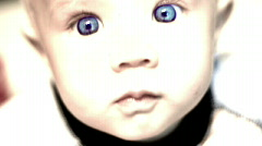 Mysterious Blue Eyed Baby - stock footage