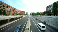 Barcelona traffic transport vehicles rush hour urban city  Stock Footage