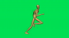 Stick figure Rrunning Green Screen 1 Stock Footage