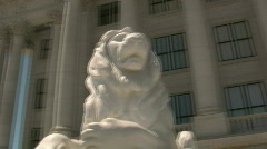 Lion Statues at the Salt Lake City Capital Building - stock footage
