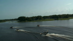 Aerial 4 Airboats on Lake Stock Footage