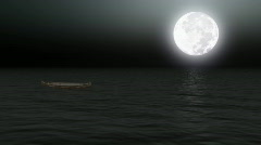 Boat on calm sea under moonlight - Backgrounds - Transport - Vacations - Animati Stock Footage