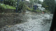 Flooded Street scene, Shot from Bus Stock Footage