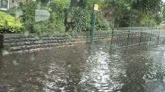 Flooded Street scene, Shot from Bus, Nottingham Stock Footage