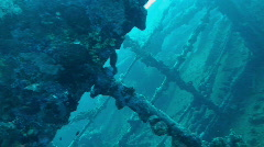Sunken ship,pan stern to propeller Stock Footage