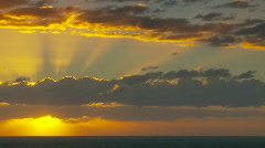 Stock Video Footage of Sun Rays Through Clouds, Wide Angle, Sunrise Time Lapse
