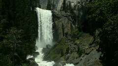 Stock Video Footage of Vernal Falls with Distant Hikers