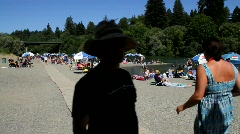 Busy River Beach Stock Footage